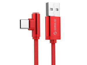 ORICO Right-angled Type-C USB C Cable Braided Portable Cable Charge 2.4A Fast Charge Data Cable for Huawei Samsung LG HTC Smartphone  1.2 Meter (HTC-12) Red