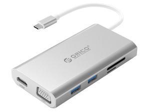 ORICO USB C HUB Type-C to HDMI/VGA/RJ45/TF/SD/USB3.0 HUB Multi-function Docking Station With Type-C PD Charging For PC Mac Laptop
