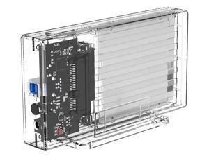 ORICO 2 Bay Transparent Dual Bay 2.5'' HDD Enclosure SATA to USB 3.0 Transparent Hard Drive Box Support UASP for 2.5 inch 7-9.5 mm  Support UASP protocol SATA III Tool Free  2x4TB