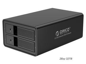 ORICO 2 Bay Aluminum Trayless Mobile Rack Backplane 3.5 inch USB 3.0 to SATA Hard Drive Enclosure Case Hot Swap for Laptop PC Mac OS Windows Support UASP & 2*16TB Drive Max Without RAID Function