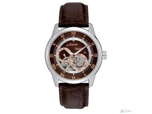 Bulova 21 Jewel Mens Brown Dial Open Heart Leather Strap Automatic Watch 96A120