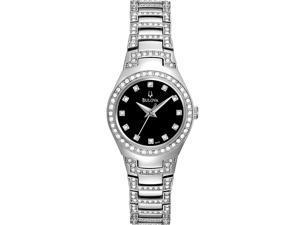 Bulova Ladies Crystal Collection Black Dial Dress Quartz Watch 96L170