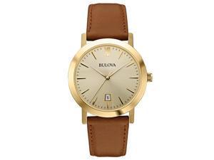 Bulova Dress Champagne Dial Brown Leather Unisex Watch 97B135