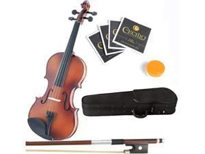 Mendini 1/32 MV300 Solid Wood Violin in Antique Satin Finish with Hard Case, Bow, Rosin and Extra Strings