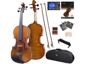 Cecilio Full Size 4/4 CVN-700 Highly Flamed 1-Piece Back Ebony Fitted Professional Violin with Case, Tuner, Accessories & Lesson Book + DVD