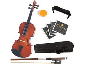 Mendini 3/4 MV200 Natural Finish Solid Wood Violin Package + Bow, Hardcase, Shoulder Rest, 2 Bridges, 2 Sets Violin Strings & Rosin