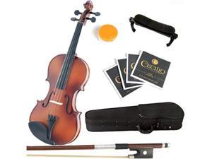 Mendini 1/8 MV300 Solid Wood Violin in Antique Satin Finish with Hard Case, Shoulder Rest, Bow, Rosin and Extra Strings