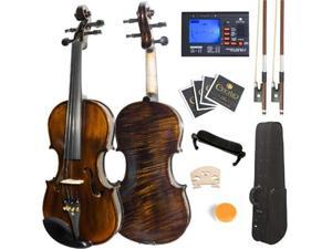 Mendini 4/4 MV500 Flamed 1-Piece Back Solid Wood Violin with Case, Tuner, Shoulder Rest, Bow, Rosin, Bridge and Strings - Full Size