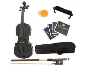 Mendini 1/2 MV-Black Solid Wood Metallic Black Violin + Hard Case, Shoulder Rest, Bow, Rosin & Strings