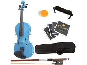 Mendini  3/4 MV-Blue Solid Wood Metallic Blue Violin + Hard Case, Shoulder Rest, Bow, Rosin & Strings