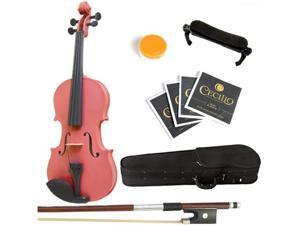 Mendini  4/4 (Full Size) MV-Pink Solid Wood Metallic Pink Violin + Hard Case, Shoulder Rest, Bow, Rosin & Strings