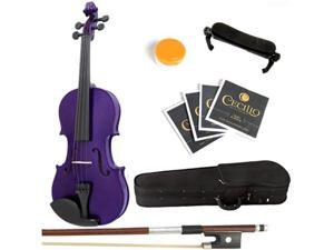 Mendini  3/4 MV-Purple Solid Wood Metallic Purple Violin + Hard Case, Shoulder Rest, Bow, Rosin & Strings