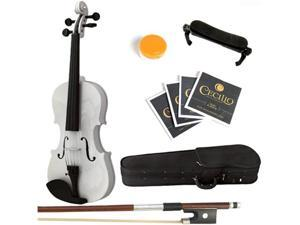 Mendini  4/4 (Full Size) MV-White Solid Wood Metallic White Violin + Hard Case, Shoulder Rest, Bow, Rosin & Strings