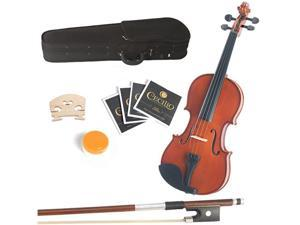 "Mendini by Cecilio 16"" MA250 Natural Finish Solid Wood Viola with Case, Bow, Rosin, 2 Bridges and Extra Strings"