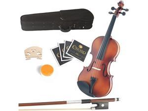 "Mendini by Cecilio 16"" MA350 Satin Finish Solid Wood Viola with Case, Bow, Rosin, 2 Bridges and Extra Strings"