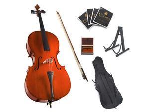 Cecilio 4/4 CCO-100 Student Cello with Soft Case, Bow, Rosin, Bridge, Strings and Cello Stand (Full Size)