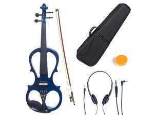 Cecilio 4/4CEVN-1BL 4/4 Full Size Electric Silent Solidwood Violin w/ Ebony Fittings in Style 1 - Metallic Blue