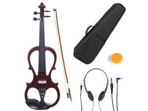 Cecilio 4/4CEVN-1NA 4/4 Full Size Electric Silent Solidwood Violin w/ Ebony Fittings in Style 1 - Metallic Mahogany