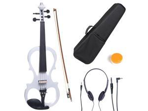 Cecilio 4/4CEVN-1W 4/4 Full Size Electric Silent Solidwood Violin w/ Ebony Fittings in Style 1 - Metallic Pearl White