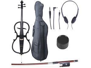 Cecilio CECO-1BK Full Size 4/4 Ebony Electric Silent Metallic Black Cello in Style 1 +Soft Case, Bow & Accessories