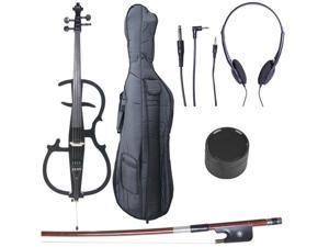 Cecilio CECO-2BK Full Size 4/4 Ebony Electric Silent Metallic Black Cello in Style 2 +Soft Case, Bow & Accessories