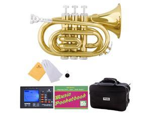 MPT-L Gold Lacquer Brass B Flat Pocket Trumpet + Mouthpiece, Tuner, Case, Stand, Pocketbook & Accessories