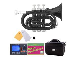 MPT-BK Black Lacquer Brass B Flat Pocket Trumpet + Mouthpiece, Tuner, Case, Stand, Pocketbook & Accessories