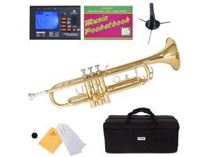 MTT-L Gold Lacquer Brass B Flat Trumpet + Mouthpiece, Tuner, Case, Stand, Pocketbook & Accessories