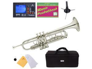 MTT-N Nickel Plated Brass B Flat Trumpet + Mouthpiece, Tuner, Case, Stand, Pocketbook & Accessories