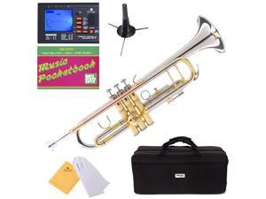 MTT-30CN Nickel Plated Intermediate B Flat Trumpet w/ Monel Valves + Mouthpiece, Tuner, Case, Stand, Pocketbook & Accessories