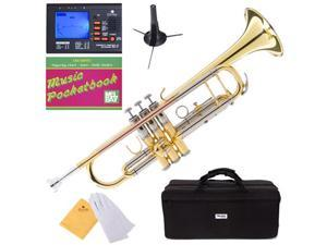 MTT-40 Intermediate/Advanced B Flat Trumpet w/ Monel Valves + Mouthpiece, Tuner, Case, Stand, Pocketbook & Accessories