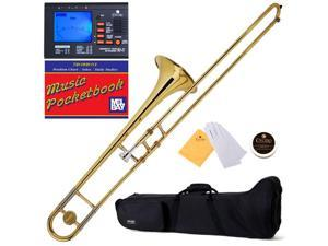 MTB-L Gold Lacquer B Flat Slide Trombone + Tuner, Case, Mouthpiece & Accessories