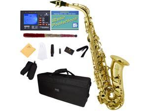 Mendini by Cecilio MAS-L+92D+PB Gold Lacquered E Flat Alto Saxophone with Tuner, Case, Mouthpiece, 10 Reeds and More