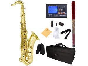 Mendini by Cecilio MTS-L+92D Gold Lacquered B Flat Tenor Saxophone with Tuner, Case, Mouthpiece, 10 Reeds and More