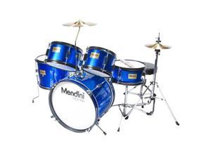 MJDS-5-BL Complete 16-Inch 5-Piece Blue Junior Drum Set with Cymbals, Drumsticks and Adjustable Throne