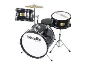 MJDS-3-BK 16-inch 3-Piece Black Junior Drum Set with Cymbals, Drumsticks and Adjustable Throne