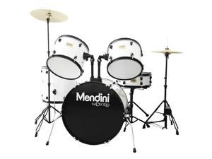 MDS80-WH Complete Full Size Senior 5-Piece 6-Ply Birch Wood White Drum Set with Cymbals, Drumsticks and Throne