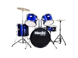 MDS80-BL Complete Full Size Senior 5-Piece 6-Ply Birch Wood Blue Drum Set with Cymbals, Drumsticks and Throne
