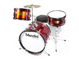 MJDS-3-BR 16-inch 3-Piece Bright Red Junior Drum Set with Cymbals, Drumsticks and Adjustable Throne
