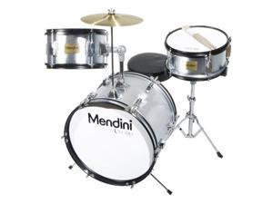 MJDS-3-SR 16-inch 3-Piece Silver Junior Drum Set with Cymbals, Drumsticks and Adjustable Throne