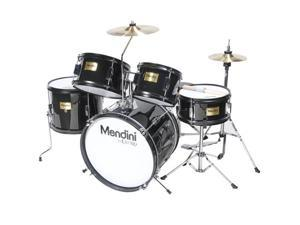 Cecilio MJDS-5-BK Complete 16-Inch 5-Piece Black Junior Drum Set with Cymbals, Drumsticks and Adjustable Throne
