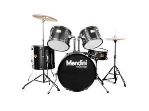 MDS80-BK Complete Full Size Senior 5-Piece 6-Ply Birch Wood Black Drum Set with Cymbals, Drumsticks and Throne