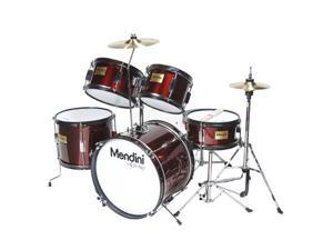 MJDS-5-WR Complete 16-Inch 5-Piece Wine Red Junior Drum Set with Cymbals, Drumsticks and Adjustable Throne