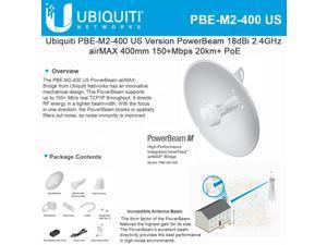 Ubiquiti Networks - PBE-M2-400-US - Ubiquiti PowerBeam PBE-M2-400 IEEE 802.11n 150 Mbit/s Wireless Bridge - 2 GHz - 12.4