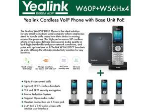 Yealink IP Phone W60P is a bundle of W60B base and W56H handset + (4-UNITS) W56H Handset, which delivers top-tier audio clarity and battery durability, 8 SIP accounts, standby time 400 hours, talk tim