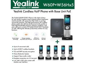 Yealink IP Phone W60P is a bundle of W60B base and W56H handset + (5-UNITS) W56H Handset, which delivers top-tier audio clarity and battery durability, 8 SIP accounts, standby time 400 hours