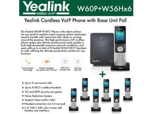 Yealink IP Phone W60P is a bundle of W60B base and W56H handset + (6-UNITS) W56H Handset, which delivers top-tier audio clarity and battery durability, 8 SIP accounts, standby time 400 hours
