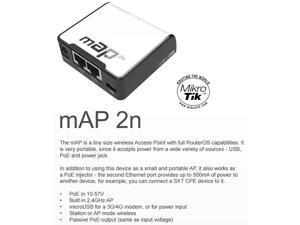 Mikrotik mAP 2n, RBmAP2n Built in 2.4GHz Wireless Access Point 802.11/b/g/n OSL4