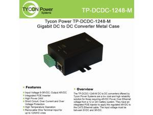 Tycon Power TP-DCDC-1248-M 9-36VDC In 48VDC Out Metal 24W DCDC Conv/POE