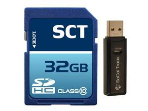 32GB SD HC Class 10 SCT Secure Digital Ultimate Extreme Speed SDHC Flash Memory Card 32G 32 GIGS GB FOR Digital Camera SLR Tablet Computer GPS SoCal Trade Dual Slot MicroSD & SD HC Card Reader